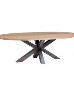 ovale tafel met stalen kruispoot