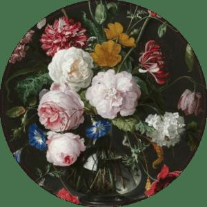 Muurcirkel Flowers black | Forex | 80 cm | Uniek