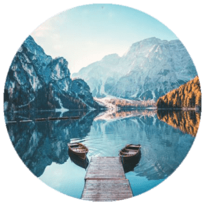 Muurcirkel Blue lake | Forex | 80 cm | Uniek