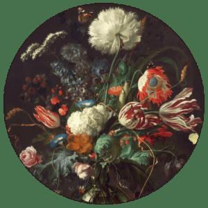 Muurcirkel Geschilderde Bloemen | Forex | 80 cm | Uniek