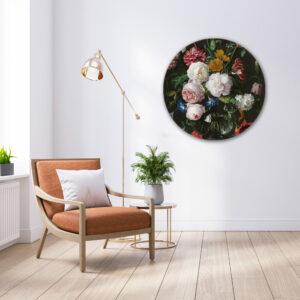 Muurcirkel Flowers black | Sfeer foto | Forex | 80 cm | Uniek
