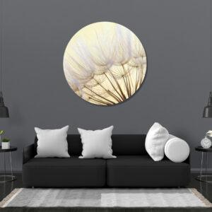 Muurcirkel Witte Bloemen | Sfeer foto | Forex | 80 cm | Uniek