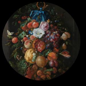 Muurcirkel Festoen van vruchten en bloemen | Uniek