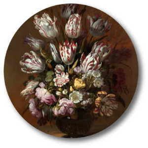 Muurcirkel Stilleven met bloemen | Uniek
